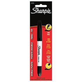 Sharpie Twin Tip Permanent Marker - Black (Carded 1's)