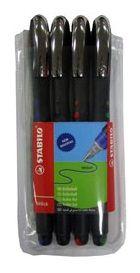 Stabilo Bl@ck Rollerball Pen - Wallet of 4