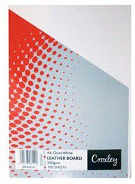 Croxley Binding Leather Board 250gsm - Gloss White (Pack of 100)
