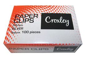 Croxley Silver Paper Clips - 33mm (Box of 100)
