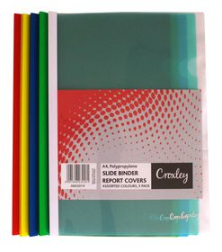 Croxley A4 Slide Binder Report Covers Assorted Colours (5 Pack)