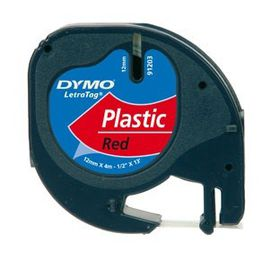 Dymo LetraTag Tape Cassette - Black Print on Red Tape (12mm x 4m)