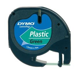 Dymo LetraTag Tape Cassette - Black Print on Green Tape (12mm x 4m)