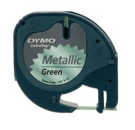 Dymo LetraTag Tape Cassette - Black Print on Metallic Green Tape (12mm x 4m)