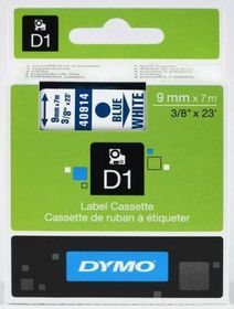 Dymo D1 Tape Cassette - Blue Print on White Tape (9mm x 7m)