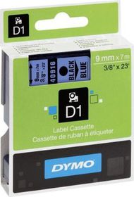 Dymo D1 Tape Cassette - Black Print on Blue Tape (9mm x 7m)