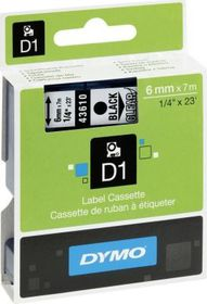 Dymo D1 Tape Cassette - Black Print on Clear Tape (6mm x 7m)