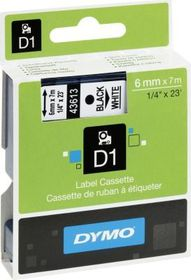 Dymo D1 Tape Cassette - Black Print on White Tape (6mm x 7m)