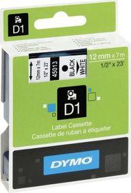 Dymo D1 Tape Cassette - Black Print on White Tape (12mm x 7m)