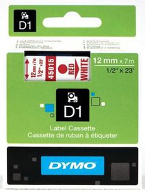 Dymo D1 Tape Cassette - Red Print on White Tape (12mm x 7m)
