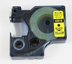 Dymo D1 Tape Cassette - Black Print on Yellow Tape (12mm x 7m)