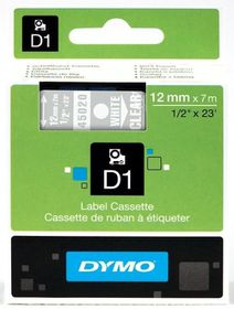 Dymo D1 Tape Cassette - White Print on Clear Tape (12mm x 7m)