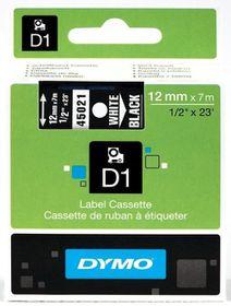 Dymo D1 Tape Cassette - White Print on Black Tape (12mm x 7m)