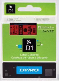 Dymo D1 Tape Cassette - Black Print on Red Tape (19mm x 7m)