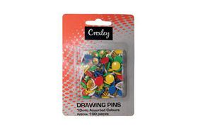 Croxley 100 Drawing Pins - Assorted Colours (11 mm)