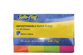 Sello-Flag Repositionable Paper Flags - Neon (4 x 40 Sheets)