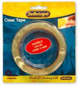 Sellotape Clear Tape Double Value - 12mm x 66m