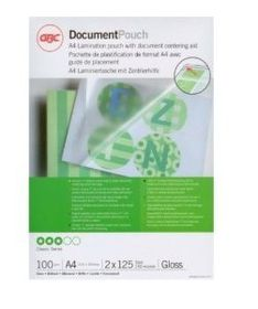 GBC Document Gloss Laminating Pouches - A4 250(2x125)micron (100 Pack)