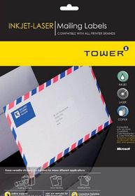 Tower W113 Mailing Inkjet-Laser Labels - Pack of 25 Sheets