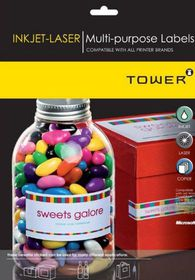 Tower W235 Multi Purpose Inkjet-Laser Labels - Pack of 25 Sheets