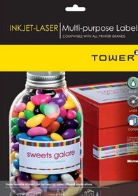 Tower W236 Multi Purpose Inkjet-Laser Labels - Pack of 25 Sheets