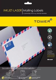 Tower W100 Mailing Inkjet-Laser Labels - Box of 100 Sheets