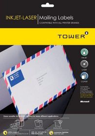 Tower W110 Mailing Inkjet-Laser Labels - Box of 100 Sheets Box of 100 Sheets