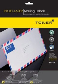Tower W111 Mailing Inkjet-Laser Labels - Box of 100 Sheets