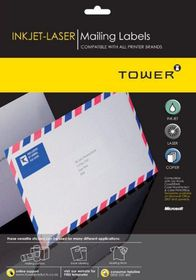 Tower W115 Mailing Inkjet-Laser Labels - Box of 100 Sheets