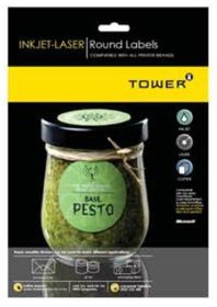 Tower W117 Round Inkjet-Laser Labels - Box of 100 Sheets