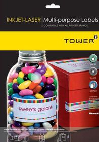 Tower W119 Multi Purpose Inkjet-Laser Labels - Box of 100 Sheets