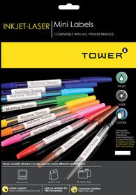 Tower W225 Mini Inkjet-Laser Labels - Box of 100 Sheets