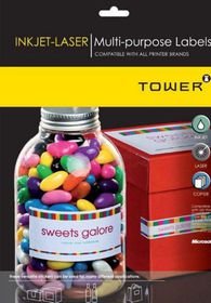 Tower W233 Multi Purpose Inkjet-Laser Labels - Box of 100 Sheets