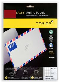 Tower C110 A4 Laser Mailing Labels (Red) - Pack of 25 Sheets
