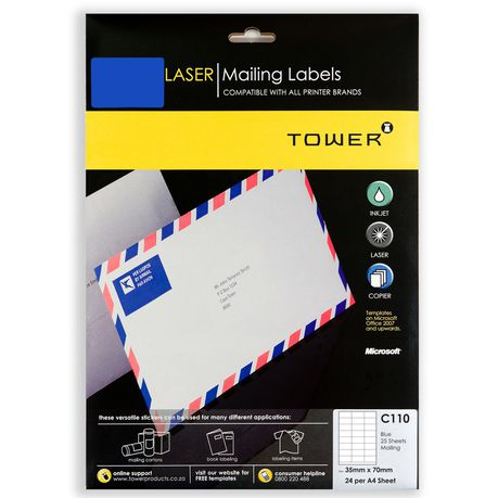 tower c110 a4 laser mailing labels blue pack of 25 sheets buy