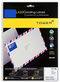 Tower C110 A4 Laser Mailing Labels (Blue) - Pack of 25 Sheets