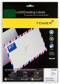 Tower C110 A4 Laser Mailing Labels (Green) - Pack of 25 Sheets