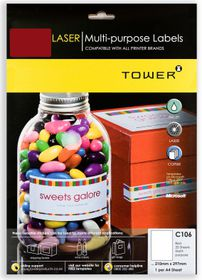 Tower C106 Multi Purpose Inkjet-Laser Labels - Red - Pack of 25 Sheets