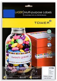 Tower C106 Multi Purpose Inkjet-Laser Labels - Blue - Pack of 25 Sheets