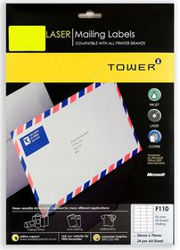 Tower F110 Mailing Inkjet-Laser Labels - Fluorescent Lime - Pack of 25 Sheets