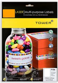 Tower F106 Multi Purpose Inkjet-Laser Labels - Fluorescent Orange - Pack of 25 Sheets