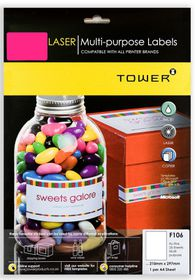 Tower F106 Multi Purpose Inkjet-Laser Labels - Fluorescent Pink - Pack of 25 Sheets