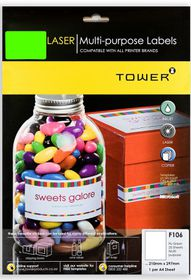 Tower F106 Multi Purpose Inkjet-Laser Labels - Fluorescent Green - Pack of 25 Sheets