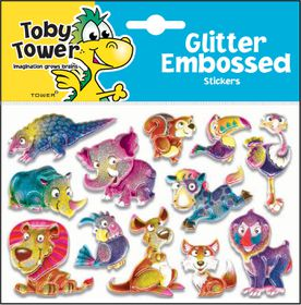 Toby Tower Glitter Embossed Stickers - Lion