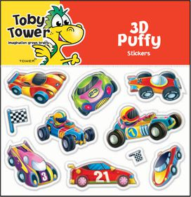 Toby Tower Puffy Stickers - Racecars