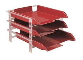 Bantex Vision 3 Tier Letter Tray - Burgundy
