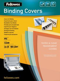 Fellowes PVC Clear A4 180micron Binding Covers (25 Pack)
