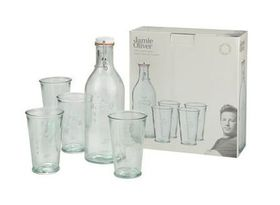 Jamie Oliver - Recycled Glass Water Bottle and 4 Glasses