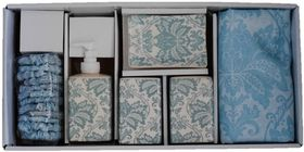 Thornbird - Bath Shower Curtain With Ceramic Set - Blue Paisley