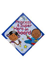 Jackflash - Baby On Board Sign - Princess and Super Hero